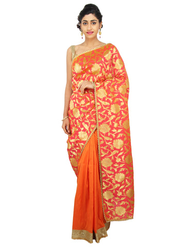 Pink and Orange Banarasi Silk saree with Parrot and Leaves zari motifs and peal border