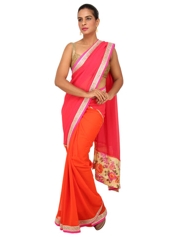 Pink and Orange Georgette Saree with Floral Pallu and Stonework Border