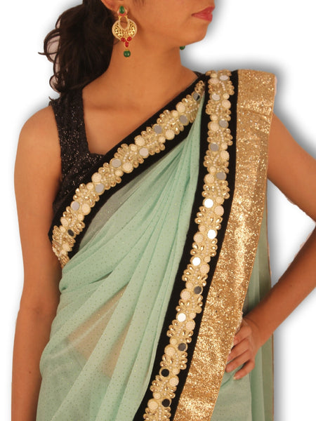 Pista Green Lycra Saree With Black Gold Pearl And Mirror