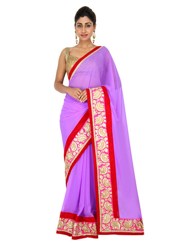 Purple georgette saree with pink and gold gotapatti work border