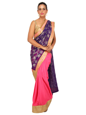 Purple pink georgette satin saree with heavy sequin work pallu and Golden border
