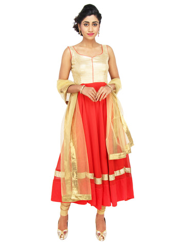 Red and Gold flared georgette dress with golden brocade yoke and Golden dupatta