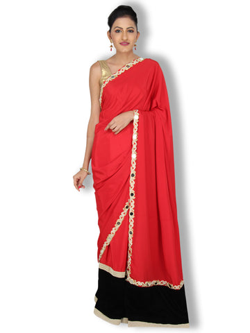 Red/black Crepe velvet saree with white/gold pearl and mirror work