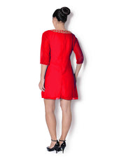 Red georgette pleated tunic with mirror and beads work - Sweta Sutariya - 2