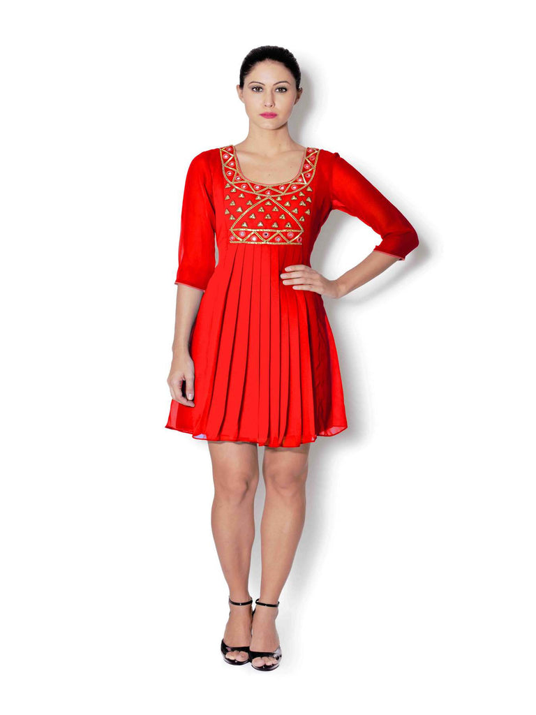 Red georgette pleated tunic with mirror and beads work - Sweta Sutariya - 1