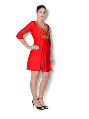 Red georgette pleated tunic with mirror and beads work - Sweta Sutariya - 3