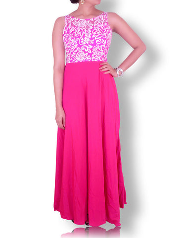 Rose Pink Flared Gown with White Resham Work Embroidered Bodice
