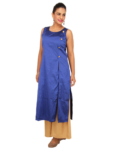 Royal Blue side cut tunic with flower shaped embelished buttons