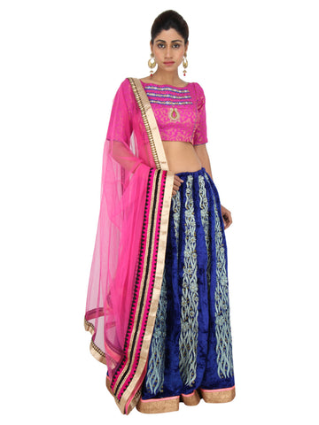 Royal blue velvet Lehenga with embroidered kalis and Jamavar Pink bloue and Pink net dupatta