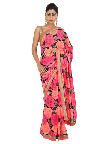 Satin georgette saree with Rose designed floral print