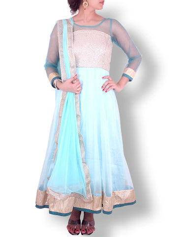 Sea Green Long Net Anarkali with Golden Threadwork Intricate Bodice