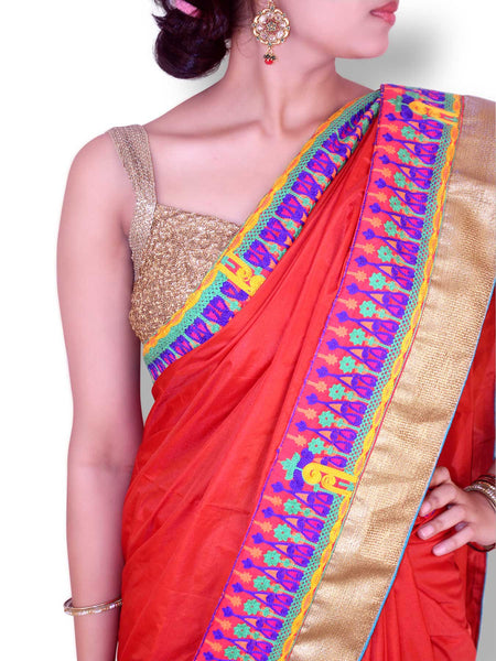 Vermillion Red Silk Saree With Kutch Embroidery Work