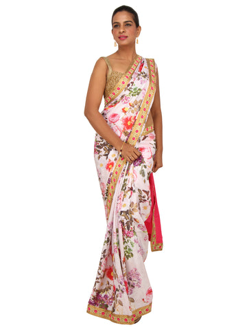 White floral printed crepe saree with pink pallu and pink gold border