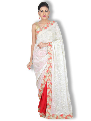 White Red geogette saree with heavy sequin work pallu and mirror work border