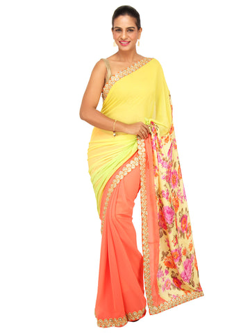 Yellow and Orange Half and Half Saree with Floral Print Pallu and Floral Cutwork Border