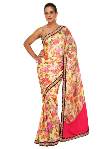 Yellow Floral Printed Crepe Saree with Purple Pearl and Kundan Border