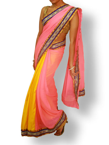 Yellow/Pink Half and Half saree in Silk/Georgette with Blue stone work border