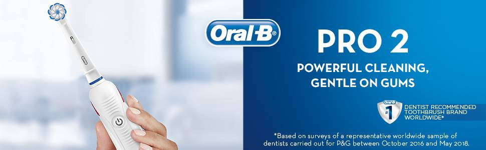 PRO 2 Powerful cleaning, gentle on gums #1 dentist recommended toothbrush worldwide