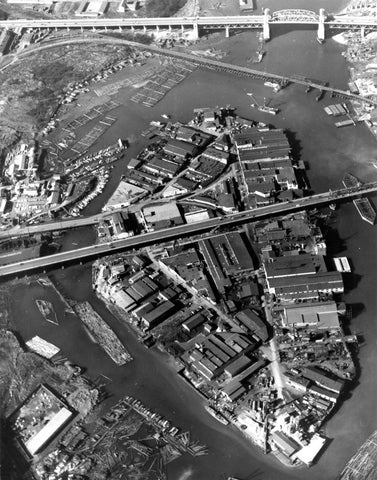 Overhead Black and White Image of Granville Island