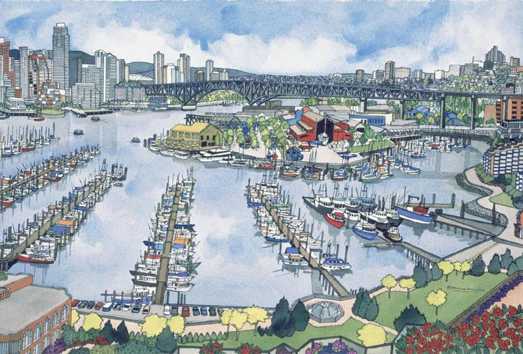 Greeting Card featuring a painting by Hilary Morris  of False  Creek