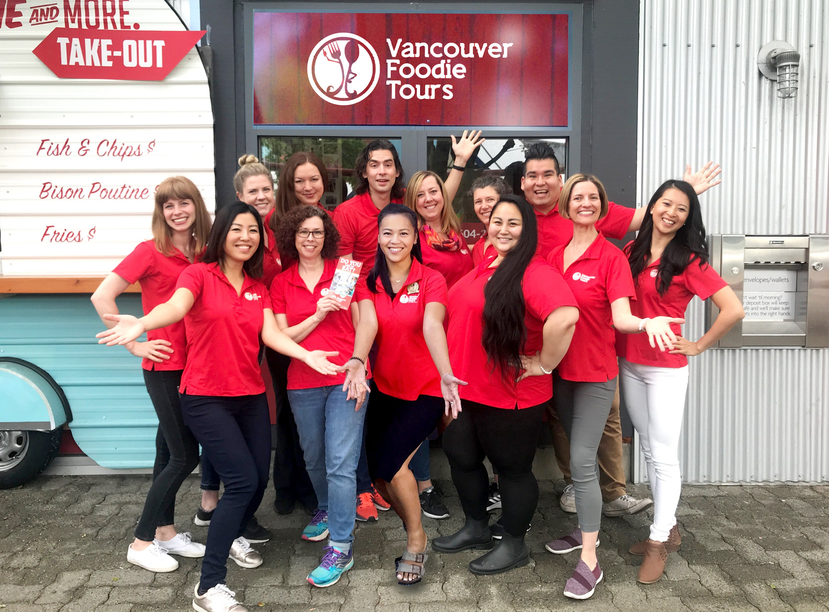 Vancouver Foodie Tours team in all red shirts