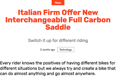 Italian Firm Offer New Interchangeable Full Carbon Saddle