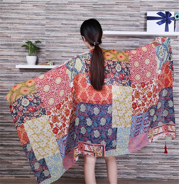 Peacock Women Fashion African Ethnic Patchwork Viscose Shawl Scarf Tassel Cotton Pashmina Poncho Wrap Snood Headband Sjaal Muslim Hijab