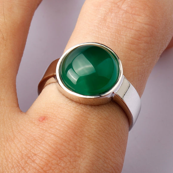Classic Bezel Setting Ring With Round Green Big Natural Stone For Fashionable Jewerly.