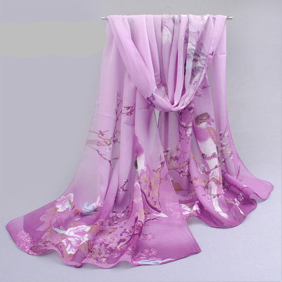 Peacock New Chiffon Scarves  Women Summer Silk Scarf Chiffon Thin Shawls And Wraps  Foulard Flower Hijab Stoles Wholesale