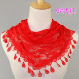 Peacock Spring Women Lace Scarf Lady's Headscarf  Hollow Triangle Scarf Women Tassel Shawls And Scarves