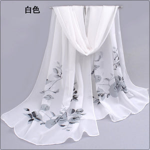 Peacock spring and summer women scarf  shawl printed cape silk chiffon Polyester tippet muffler