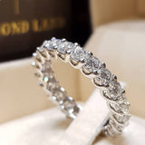 Peacock Fashion Silver Color Rhinestone, Zirconm Ring Women Elegant Simple Round Mosaic Crystal Wedding Jewelry Ring