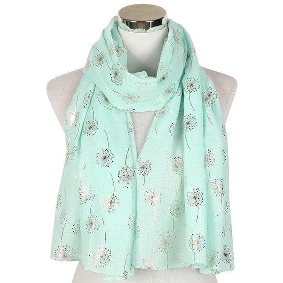 Peacock New Fashion Ladies Shiny White Pink Grey Bronzing Silver Dandelion Scarves For Womens