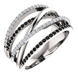 New Twist crossover Style Women Ring With Black& White Stone Micro Paved.