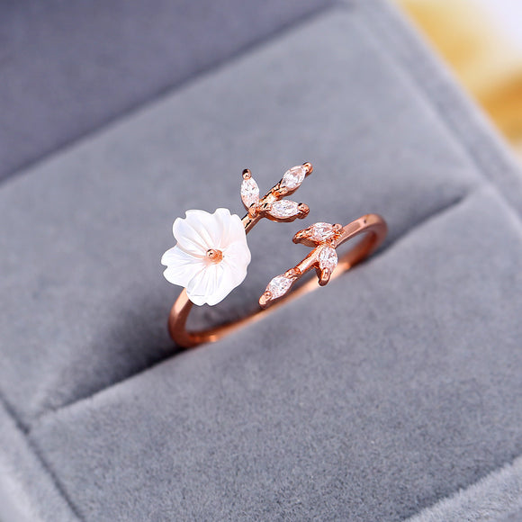 Peacock, New Crystal, Copper Flower, branch leaf ,Adjustable ,Finger Wedding Rings for Women Rose Gold Zircon Open Ring Glamour Jewelry Gift