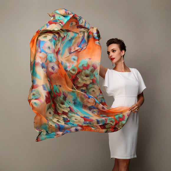 Peacock Women's Scarf Hot Sale Mulberry Silk Scarves Shawl Female Long Silk Scarf Blue and Coffee