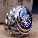 Peacock ,  Rings ,Hip Hop, Jewelry, Men's Cool Street, Big Blue Stone, Ring Carved Pattern Ring Bague
