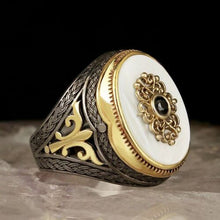 Load image into Gallery viewer, Peacock ,  Rings ,Hip Hop, Jewelry, Men's Cool Street, Big Blue Stone, Ring Carved Pattern Ring Bague