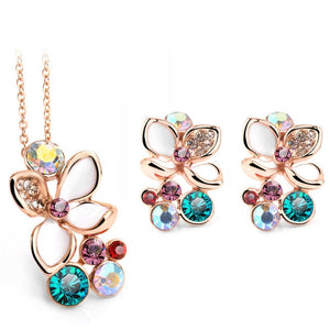 Peacock, Fashion Multi Color Flower,Crystal Rhinestone Gold Color Pendant Necklace/Earring/Ring Bridal Jewelry Set For Women.