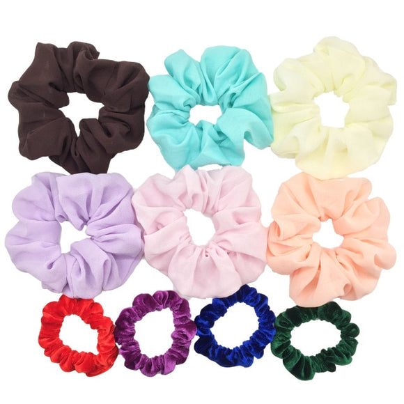 Peacock Scrunchies set hair accessories velvet satin chiffon Tie Ponytail hair holder leopard solid color girls party headwear