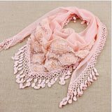 Peacock New Fashion Female Women Tassel Shawls And Scarves Autumn Women Silk Flower Lace Triangle Pendant Scarf Fashion Women Scarf