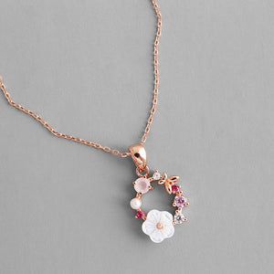 Peacock Fashion Creative Butterfly Flowers Necklace Zircon Crystal Pearl Shell Garland Pendant Necklace for Women Jewelry Accessories