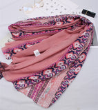 Peacock Hippie scarf  women autumn spring Spain style boho long pink dark blue embroidery scarf head hijab scarf cape