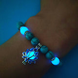 peacock,Natural Stones ,Luminous, Glowing In The Dark ,Lotus Flower ,Shaped Charm Bracelet For Women