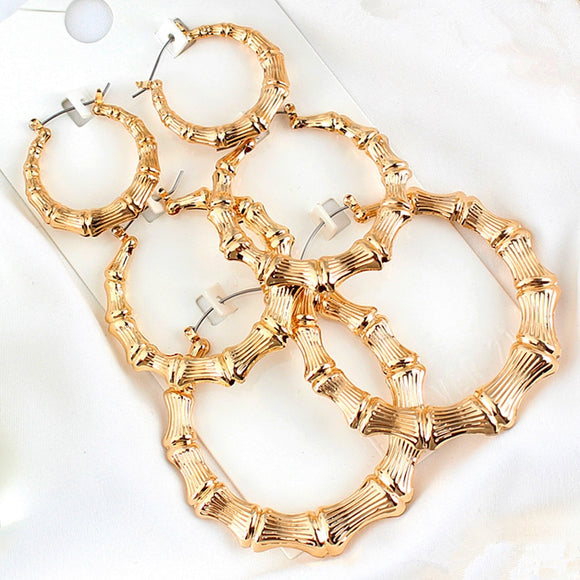 Peacock, Statement Sliver/Gold Color Big Bamboo Circle Hoop Earrings For Women Hip Hop Large  Wives Earrings Hoops