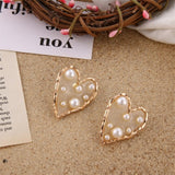 Peacock New Fashion Heart Drop Earrings Women's Geometric Mermaid Sequins Alloy 5 Color Earrings  Gold Love Bijoux Jewelry