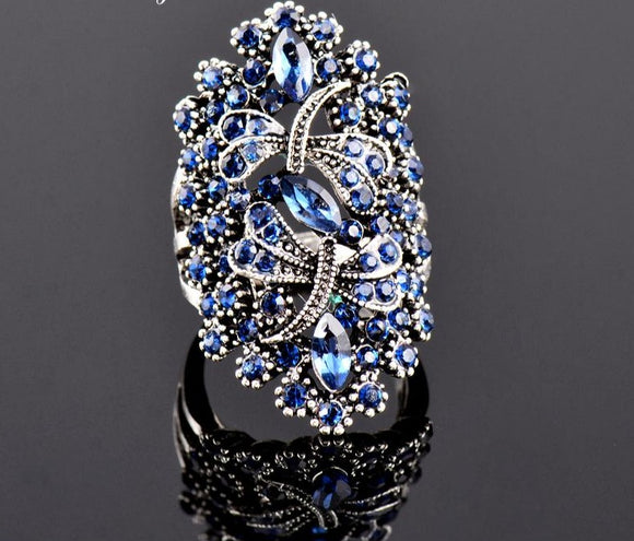 Peacock ,Vintage, Big Hollow ,Blue, Rhinestone ,Dragonfly Rings ,Women ,Antique, Silver Color.