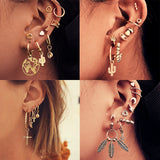 peacock,Vintage Mixed Metal Drop Dangle Earrings Set For Women Female Gold Crystal Moon Star Map Cross Small Cuff Clip Fashion Jewelry