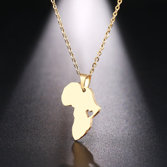Peacock,  Stainless Steel,Necklace For Women ,Africa Map Gold And Silver Color .