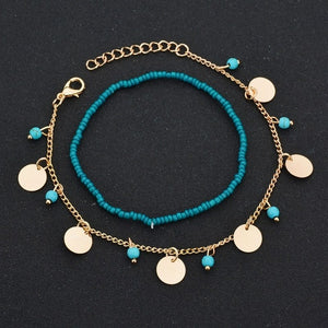 Peacock Bohemian Beads Ankle Bracelet for Women Leg Chain Round Tassel Anklet Vintage Foot Jewelry Accessories